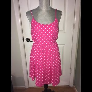 Everly hot pink, white polka dotted dress